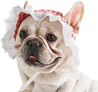 狗帽, YAODHAOD 夏季宠物蕾丝婴儿帽公主太阳帽,可调节狗狗户外运动*遮阳遮阳帽带耳孔,适合中小型犬(L,红色)