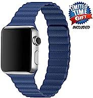 Inno-Huntz 皮革表带兼容 Apple Watch 38mm 42mm 经典表带替换表带适用于 IWatch 系列 4 3 2 1 强磁扣男士女士腕带 38mm/40mm 深蓝色