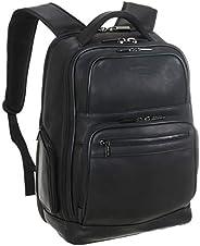 Kenneth Cole 15.6英寸 皮革電腦商務雙肩背包 黑色,均碼