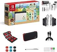 Nintendo 任天堂 Switch 动物之森:新视野版 32GB 游戏机套装,淡绿色和蓝色 Joy-Con,6.2 英寸(约15.74厘米)触摸屏液晶显示器,家庭和节日礼物,带 GM 14 合 1 超工具箱