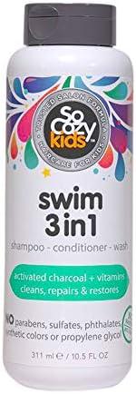 SoCozy Swim 3 合 1 | 洗发水 + 护发素 + 沐浴露 | 儿童 | 活性炭中和和和清洁氯 + 盐 | 10.5液体盎司(约310.485 毫升) | 不含对羟基苯甲酸酯、硫酸盐、合成色素或染料