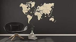 木制城市世界地图尺寸 XXL 200 x 120 厘米,木质色,一个