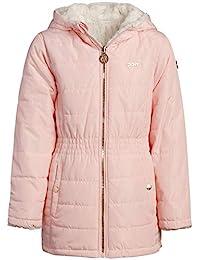 DKNY 女童连帽双面夹克 - 尼龙羽绒或羊羔绒内衬外套,尺码 14/16,腮红/奶油色