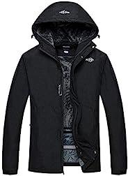 Wantdo 男式连帽防水羊毛滑雪夹克防风加厚派克大衣绗缝冬季外套风衣
