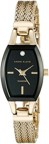 Anne Klein AK / 2184BKGB 女士镶钻石表盘金色网眼手链手表