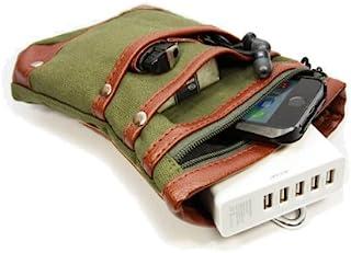 IKESHOP×TIMELY 智能手机用皮带固定式颈圈包 4个口袋内拉链1个 PU皮革/帆布制 IKS-CASE12805