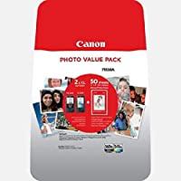 Canon 佳能 PG-560XL +CL-561XL – 包裝內含 Original Ink Cartridge BK,50 相紙和 XL 顏色 適用于 Pixma TS5350,TS5351,TS5352,TS5351 噴墨打印機