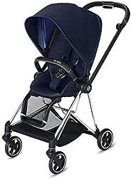 Cybex Mios 2 完整婴儿车,单手折叠,双面座椅,平滑的全轮悬架,额外存储,可调节腿托,XXL 遮阳篷,靛蓝色,带铬/黑色框架