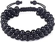 GENASTO 正品宝石珠手链 - 天然石祈祷玛拉珠黑色黑曜石串珠手链可调节