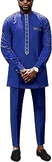 HD 非洲男士服装 Dashiki 套装亲子匹配传统服装刺绣 Daddy and Me 服装, Blue-man2, XX-Large