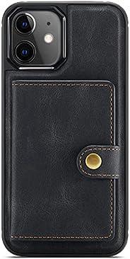 黑色皮革手机 MagSafe 保护套带卡夹 MagSafe 适用于 iPhone 12 Pro Max 皮革磁性翻盖迷你钱包保护套适用于 iPhone 2021