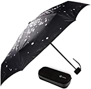 旅行雨伞带防水盒 – 小巧小巧,适合背包或钱包。非常适合女士、男士或儿童。(樱桃树)