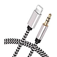 [Apple MFi 認證] 閃電至 3.5 毫米 Aux 音頻線,適用于 iPhone 12 / SE/11 / 11 Pro MAX/X/XS/XR/8/8P/7/7P/iPad/iPod,適用于汽車/立體聲、揚聲器、耳機,支持所有 iOS 版本