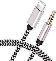 [Apple MFi 认证] 闪电至 3.5 毫米 Aux 音频线,适用于 iPhone 12 / SE/11 / 11 Pro MAX/X/XS/XR/8/8P/7/7P/iPad/iPod,适用于汽车/立体声、扬声器