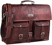 男士皮革邮差包 18 英寸复古手工真皮男式笔记本电脑包 – 适合*大 18 英寸的笔记本电脑,带顶部衬垫的手提电脑包 HULSH 出品
