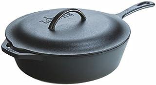 Lodge 洛极 预处理铸造深煎锅 带铁盖和辅助手柄 5夸脱(约5.7升),黑色