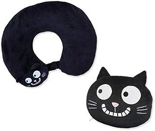 moses.Ed,猫颈枕| 2合1颈枕和旅行枕头 | 猫形旅行枕头,28厘米,黑色