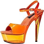 The Highest Heel Women's Glow-101 6 Inch Platform Sa