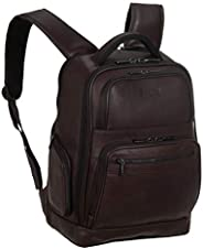 Kenneth Cole Reaction 哥倫比亞皮革雙隔層雙袋 15.6 英寸電腦背包 (Rfid) 筆記本電腦背包 棕色 均碼