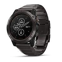 Garmin fēnix5X Plus 帶GPS的終極綜合運動型智能手表,包含彩色Topo地圖和Pulse Ox,可進行心率監測,播放音樂,還有支付功能,灰色W /鈦帶