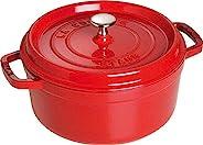 STAUB 珐宝 铸铁锅 炖锅 圆形直径24厘米 3.8升 樱桃红