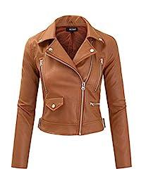 FASHION BOOMY 女式仿皮夹克 - 机车短款外套带扣