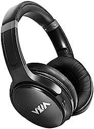 WXM 蓝牙耳机带麦克风主动降噪耳机,50 毫米驱动器深 HiFi 低音无线有线耳机 40 小时播放时间,适合旅行、在线课堂、工作黑色