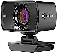 Elgato Facecam - True 1080p60 全高清网络摄像头,Sony® 传感器,固定焦点玻璃镜头,针对室内照明进行了优化,板载内存,可拆卸 USB-C