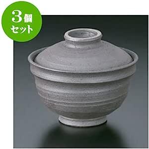3个一套 盖盖碗 手绘黑吹4.3盖碗 [13 x 11cm] 土具 手工 【日式饭馆 旅馆 日式餐具 餐饮店 业务用 餐具】