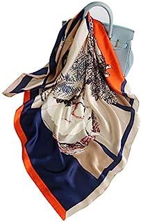 35 英寸(約 88.9 厘米)絲綢觸感 90 厘米方形發頸睡巾 女式 35 英寸(約 88.9 厘米)緞面方形絲綢狀發圍巾和裹住*頭巾