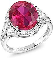 Gem Stone King 925 纯银红色人造红宝石女士戒指(5.82 克拉椭圆形可选 5,6,7,8,9)
