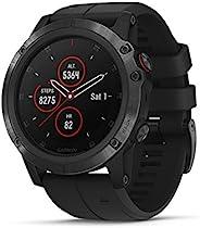 GarminFēnix5X Plus Multisport 多功能GPS户外智能手表,具有彩色Topo地图,Pulse Ox,心率监测,音乐和支付功能,Black Hardware W/Black band,5X Plu