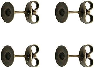 NBK 带底座耳环 10组装 全长12mm 古铜色 KE158-AG