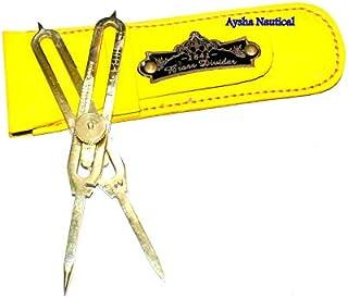 Aysha 航海比例比例分隔器绘图工具 专业 6 英寸(约 15.2 厘米)长全黄铜
