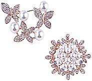 水钻胸针别针女士女孩 OHOME 2 件水晶珍珠花朵胸针套装适用于宴会新娘 DIY 婚礼胸针纽扣日常蝴蝶珠宝套装