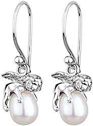 Perlu 珍珠天使女式银色吊坠和耳坠 0307931912