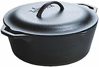 Lodge 预调味铸铁荷兰锅 带环柄和铸铁盖,7夸脱/约7.71升,黑色