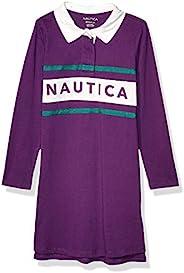 Nautica 诺帝卡女童长袖 Polo 连衣裙 Rugby Grape XL16