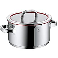 WMF cookware Ø 24 cm approx. 5,7l Function 4 Inside scaling lid - pour off or decant liquids without spilling to keep your dishes and cooker clean. Made in Germany hollow side handles glass lid Cromargan stainless steel brushed suitable for all stove tops including induction dishwasher-safe