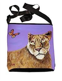 大号素食主义者斜挎包 - 可穿戴艺术,来自我的原始绘画 - 支持野生动物养护,阅读方法 Lioness - 好奇心 large