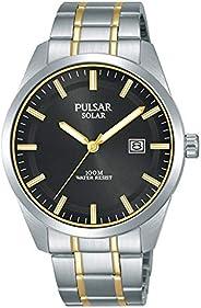 Pulsar 男士腕表,太阳能驱动,双色,不锈钢