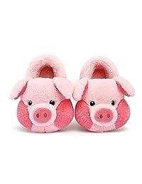 小童/幼儿可爱猪拖鞋毛绒鞋面柔软卡通动物图案舒适家居鞋适合室内户外