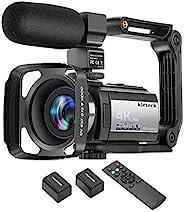 摄像机摄像机 4K 60FPS kicteck 超高清数字 WiFi 摄像机 48MP 3 英寸触摸屏夜视 16X 数码变焦录像机带外置麦克风,遥控器,镜头罩,稳定器