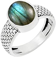 MIRRAMOR 天然青石月光石拉长石紫水晶戒指 9 x 11 毫米椭圆形宝石单石戒指适合女性、母亲、妻子