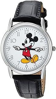 Disney 迪士尼 男士米老鼠模拟石英手表配皮革合成表带, 黑色, 18 (Model: WDS000403)