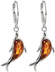 蜂蜜琥珀标准纯银 海豚杠杆耳环