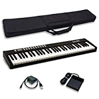 Dulcette DC12 61 键便携式钢琴键盘   内置放大扬声器   半加重键   持续踏板 MIDI/USB   电动键盘 钢琴 61 键   携带包(黑色)
