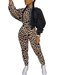 SAMACHICA 女式 2 件套时尚套装 - 系带拼色休闲两件套套头长裤套装