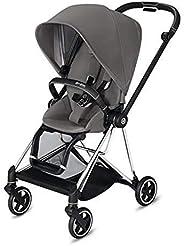 Cybex Mios 2 完整婴儿车,单手折叠,双面座椅,平稳骑行全轮悬架,额外存储,可调节腿托,曼哈顿灰色座椅带铬/黑色框架