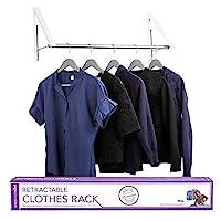 为您的家庭伸缩衣架 - 壁挂式折叠衣架晾衣架,用于洗衣房衣柜收纳整理,铝,安装方便 白色 Racks with Rod